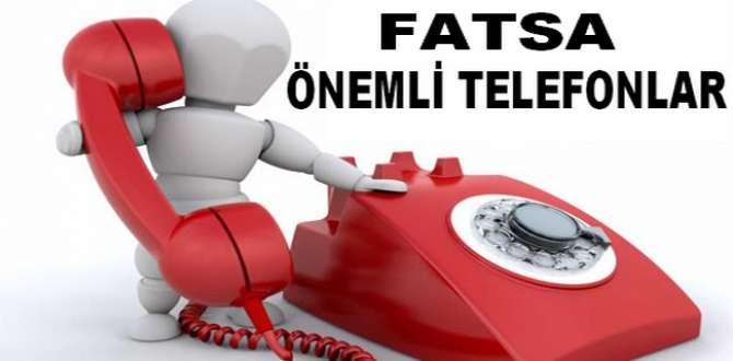 FATSA'DA ÖNEMLİ TELEFONLAR